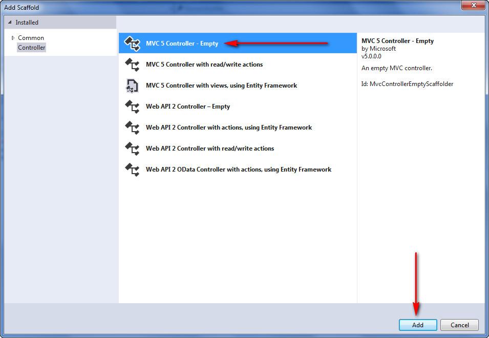 Add MVC Controller - Empty