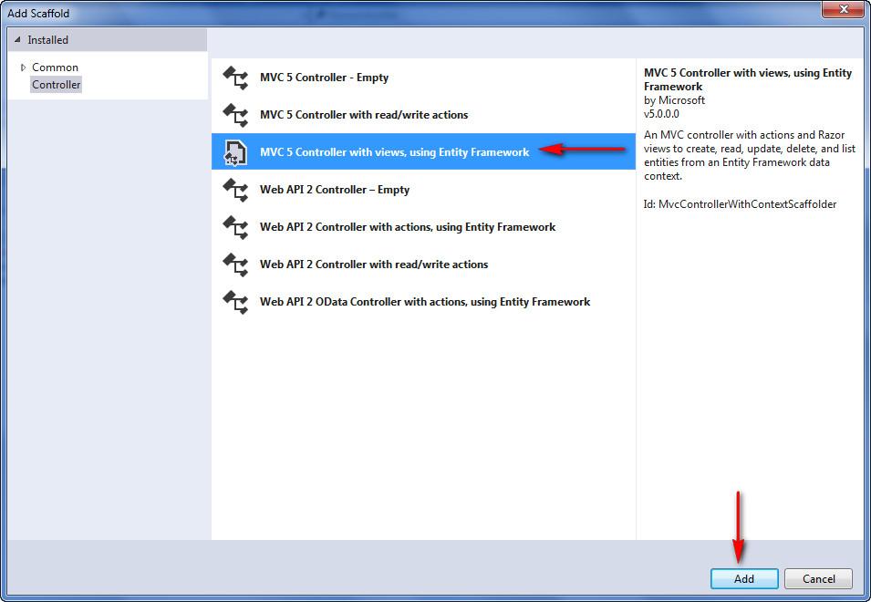 Add Controller with entity framework