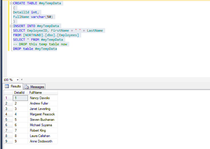 Create temporary table in sql server for Table design sql server