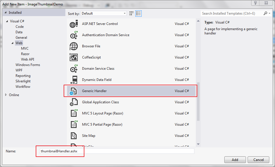 Create and Load thumbnail using Generic Handler in ASP NET C#