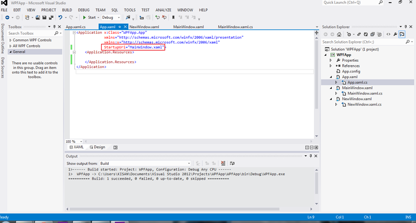 Working with Application Class or App xaml file in WPF Application